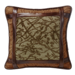 Framed Tree Pillow with Faux Leather detail, 18x18