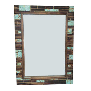Wooden Mirror with Turquoisse Inlay