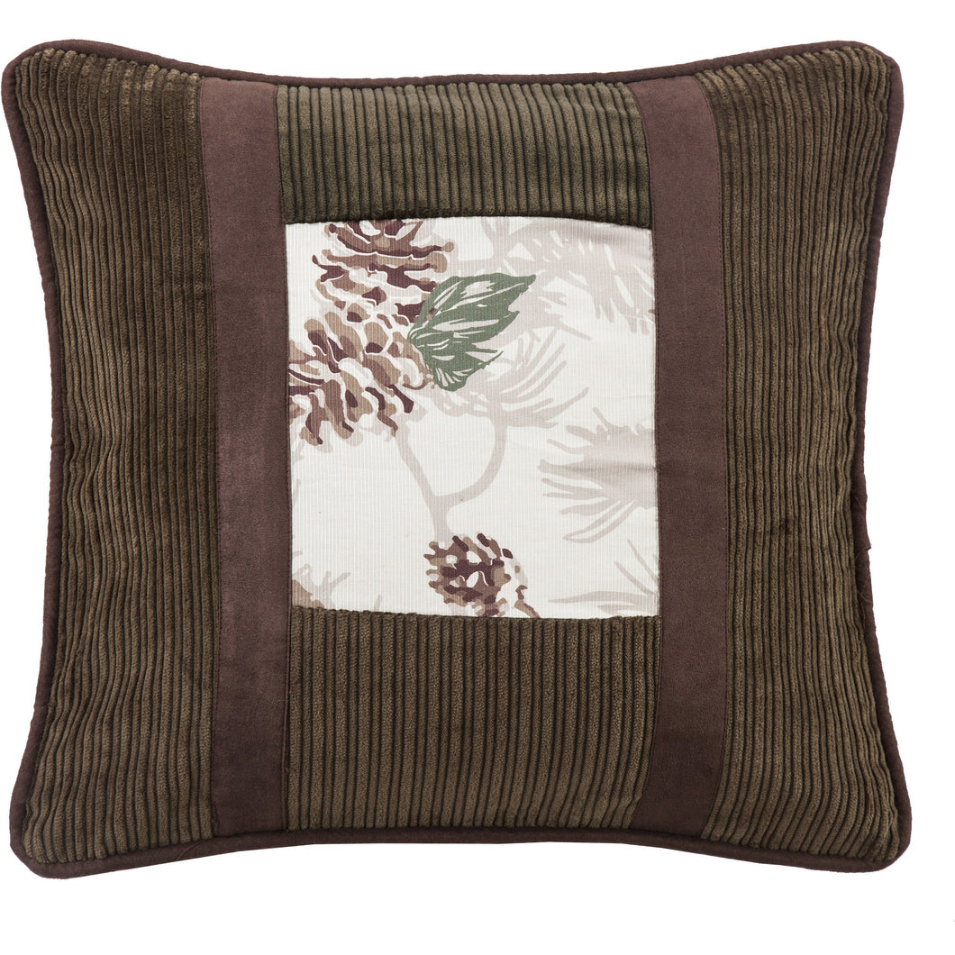 Pinecone Pillow with Corduroy Detail, 18x18