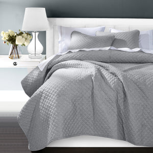 3PC Anna Coverlet Set, Full/Queen Gray