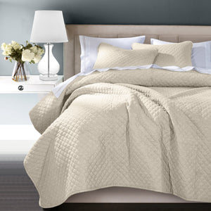 3PC Anna Coverlet Set, King Lt. Tan