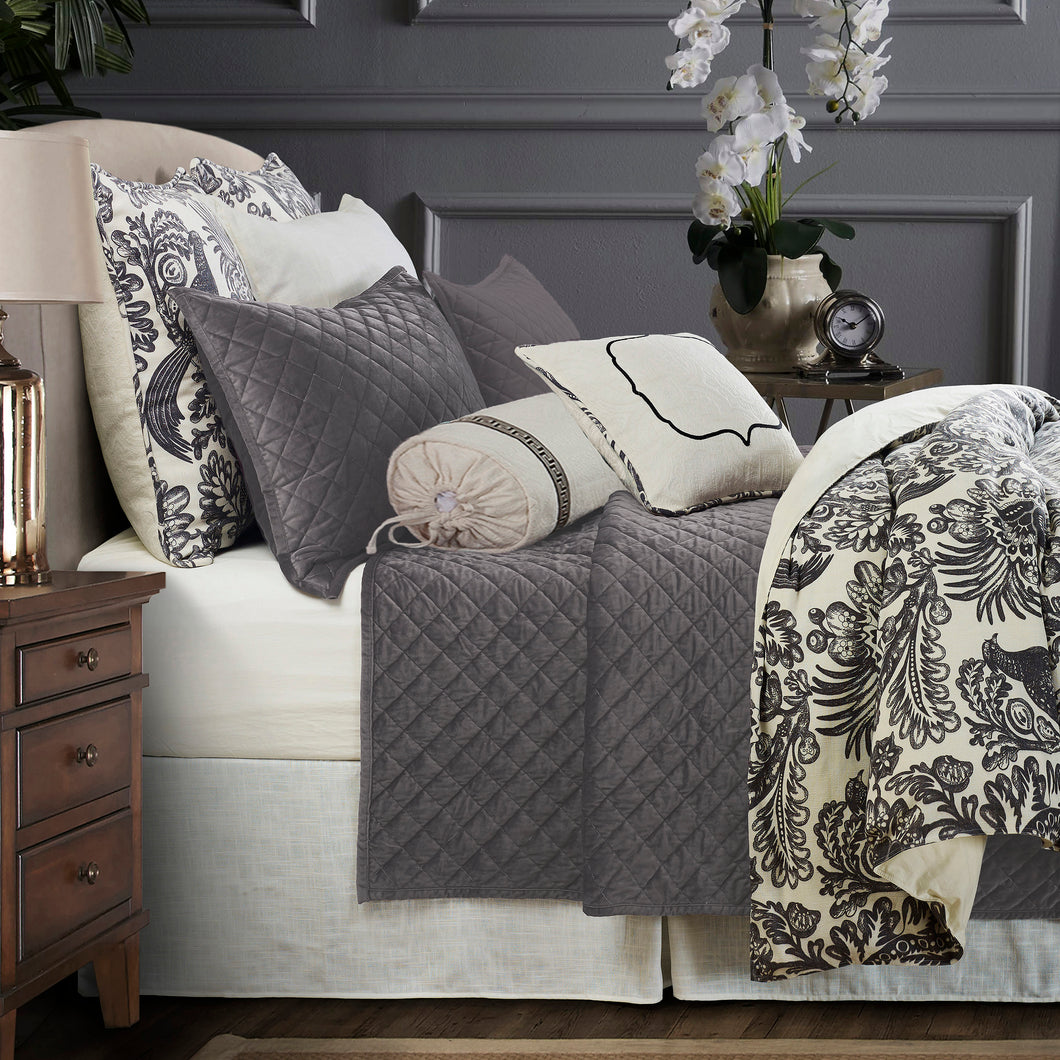 7-PC Alexandria Duvet Package, Super King Grey
