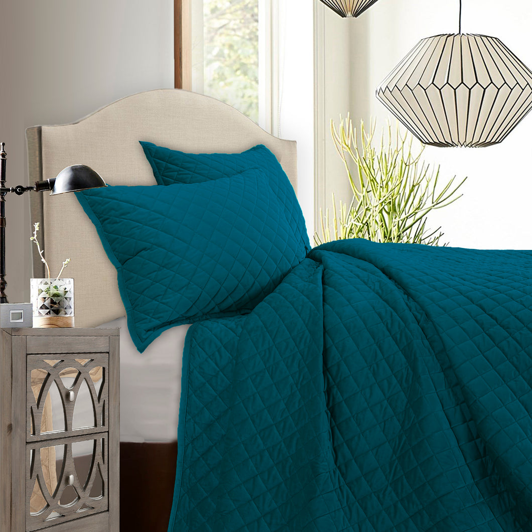 3 pc Velvet Quilt Set, Super Queen Teal