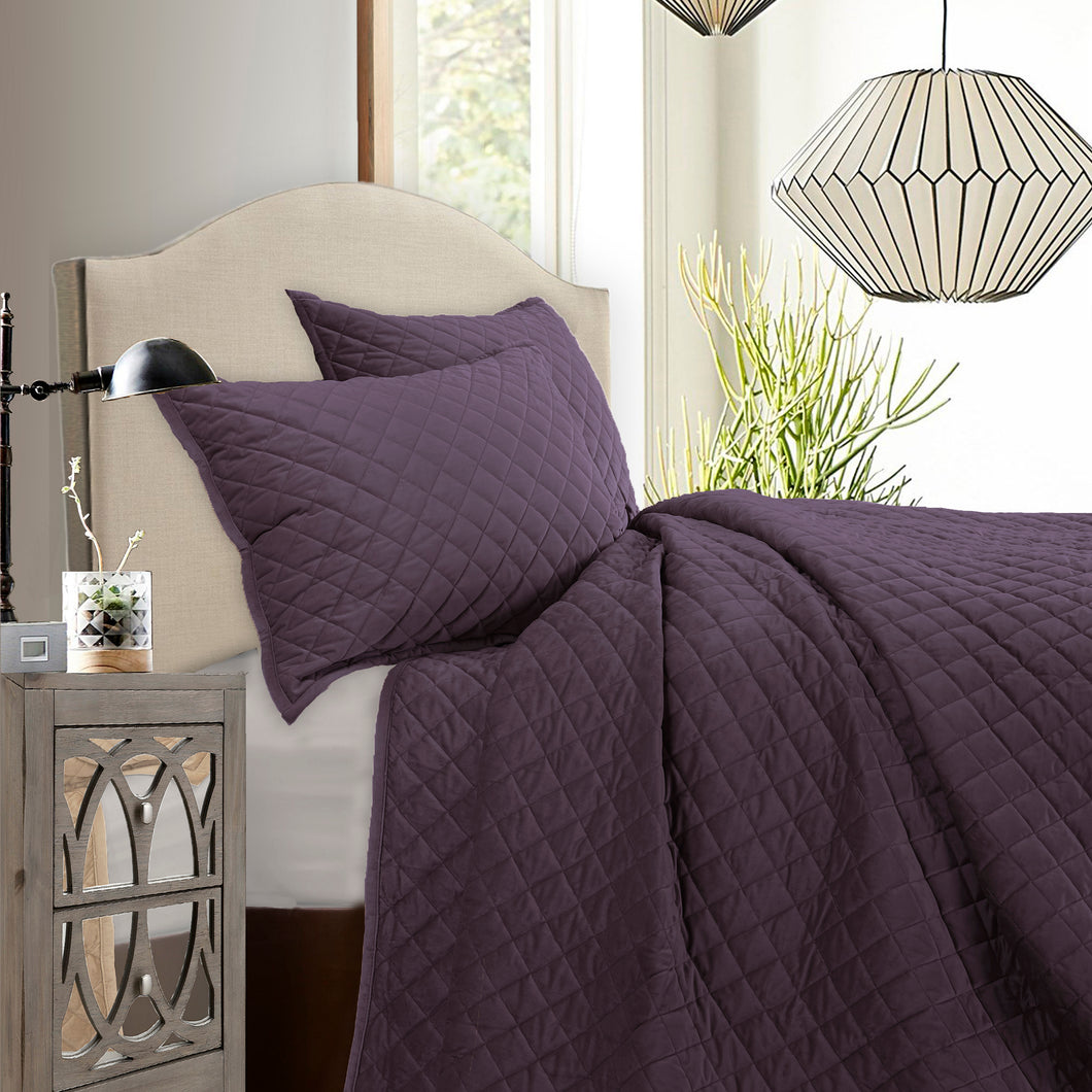 3 pc Velvet Quilt Set, Super King Amethyst