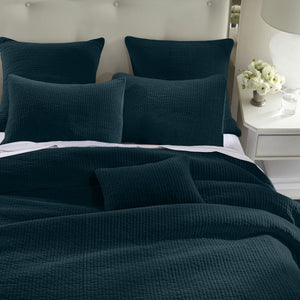 Stone Washed Cotton Velvet Quilt Set, Full/Queen Deep Blue