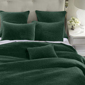 Stone Washed Cotton Velvet Quilt Set, Full/Queen Emerald