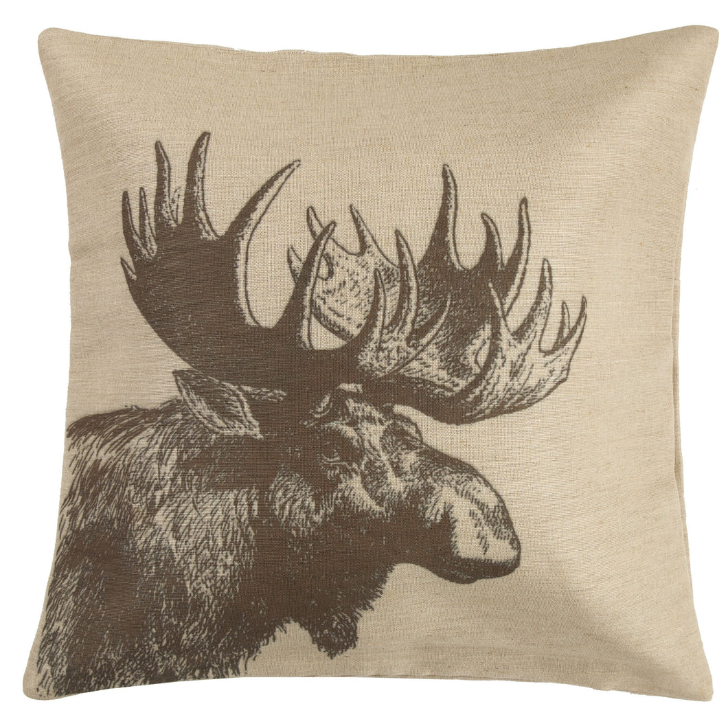 Moose Burlap Pillow, 22x22