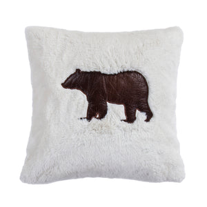 Shearling pillow with embroidered bear, 18x18