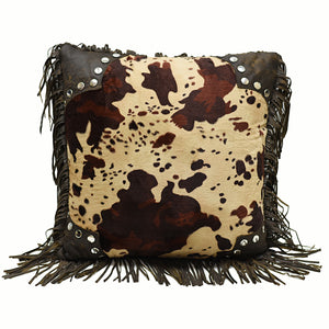 "Scalloped Faux Cowhide Pillow, 18""X18"""