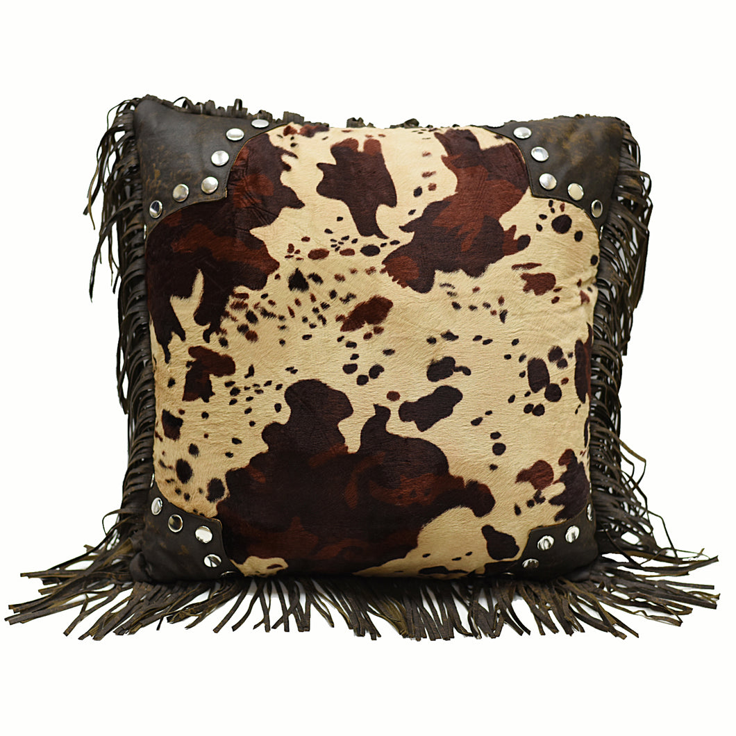 Scalloped Faux Cowhide Pillow, 18