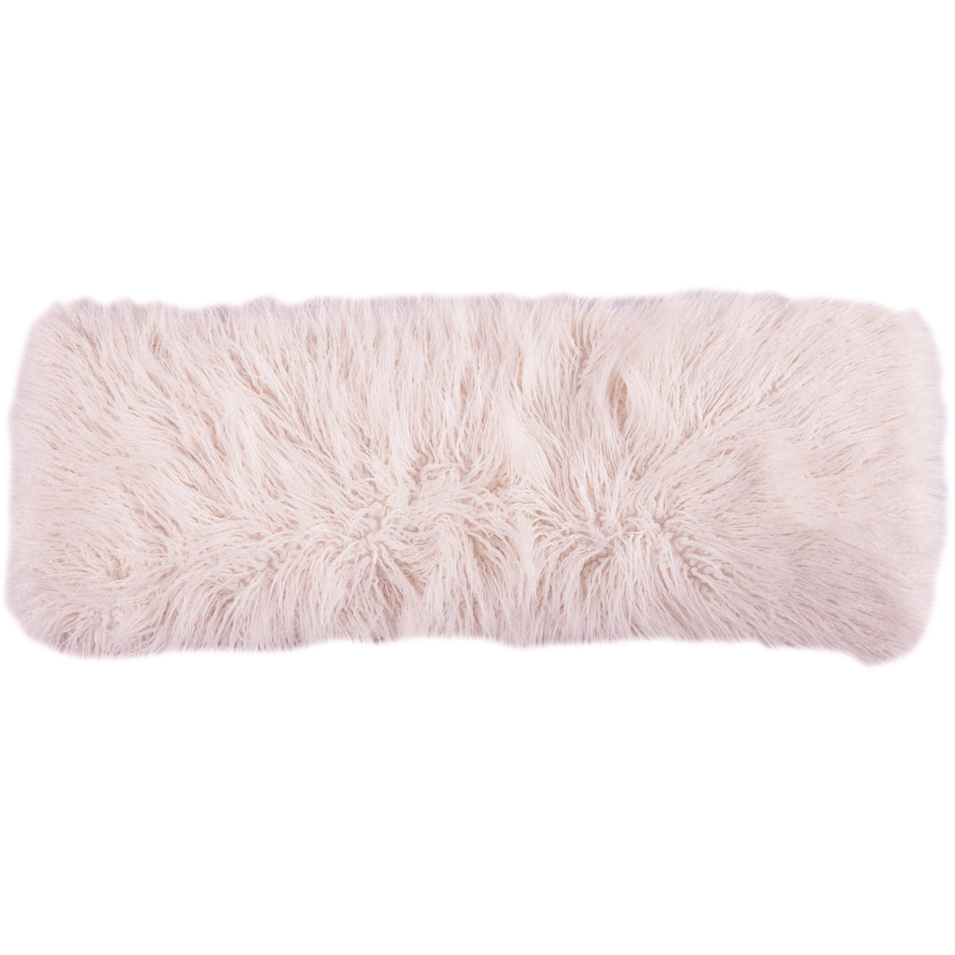 Mongolian Fur Pillow, 14x36 Blush