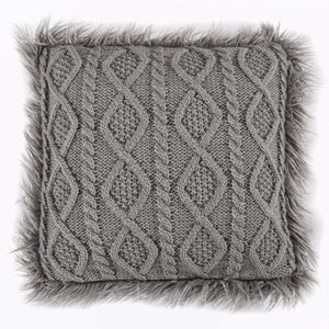 Cable Kniw Pillow with Mongolian Fur Details, 18x18 Grey