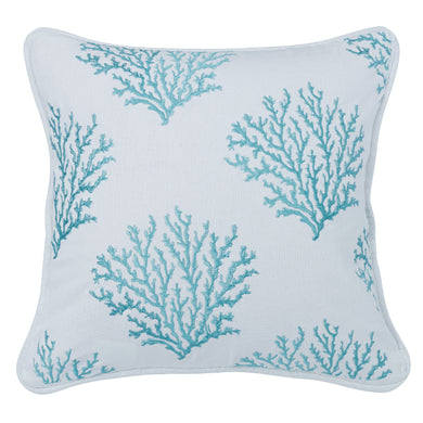 Aqua Colored Embroidered coral pillow, 18