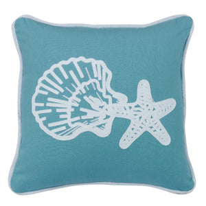 "Aqua linen pillow with star and shell embroidery, 18""X18"""