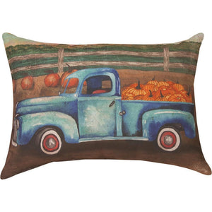 "Blue Truck & Barn Pillow 18"" x 13"" Climaweave (Indoor/Outdoor) Pillow"