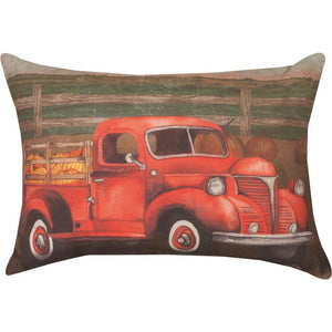 "Red Truck & Barn Pillow 18"" x 13"" Climaweave (Indoor/Outdoor) Pillow"