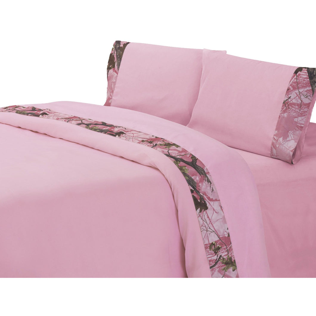 Camo Sheet Set, Queen Pink