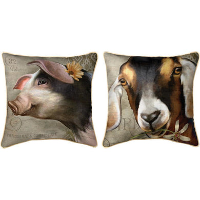 Barnyard Animals Reversible (Pig / Goat) Pillow