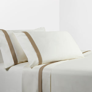 350 TC Cream Sheet Set with Tan Flange, King