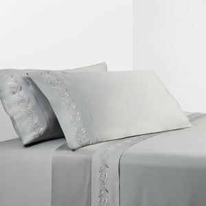 350 TC Gray Sheet Set with Gray Scroll Embroidery, King