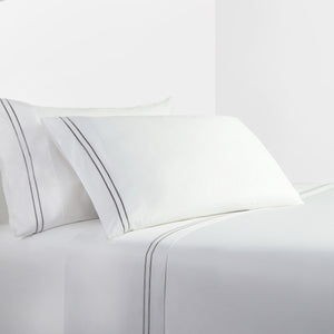 350 TC White Sheet Set with Gray Stripe Embroidery, Queen
