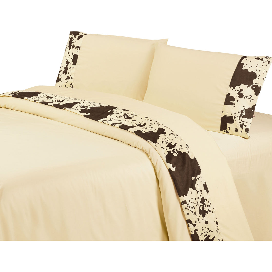Printed Cowhide Sheet Set, Queen Cream