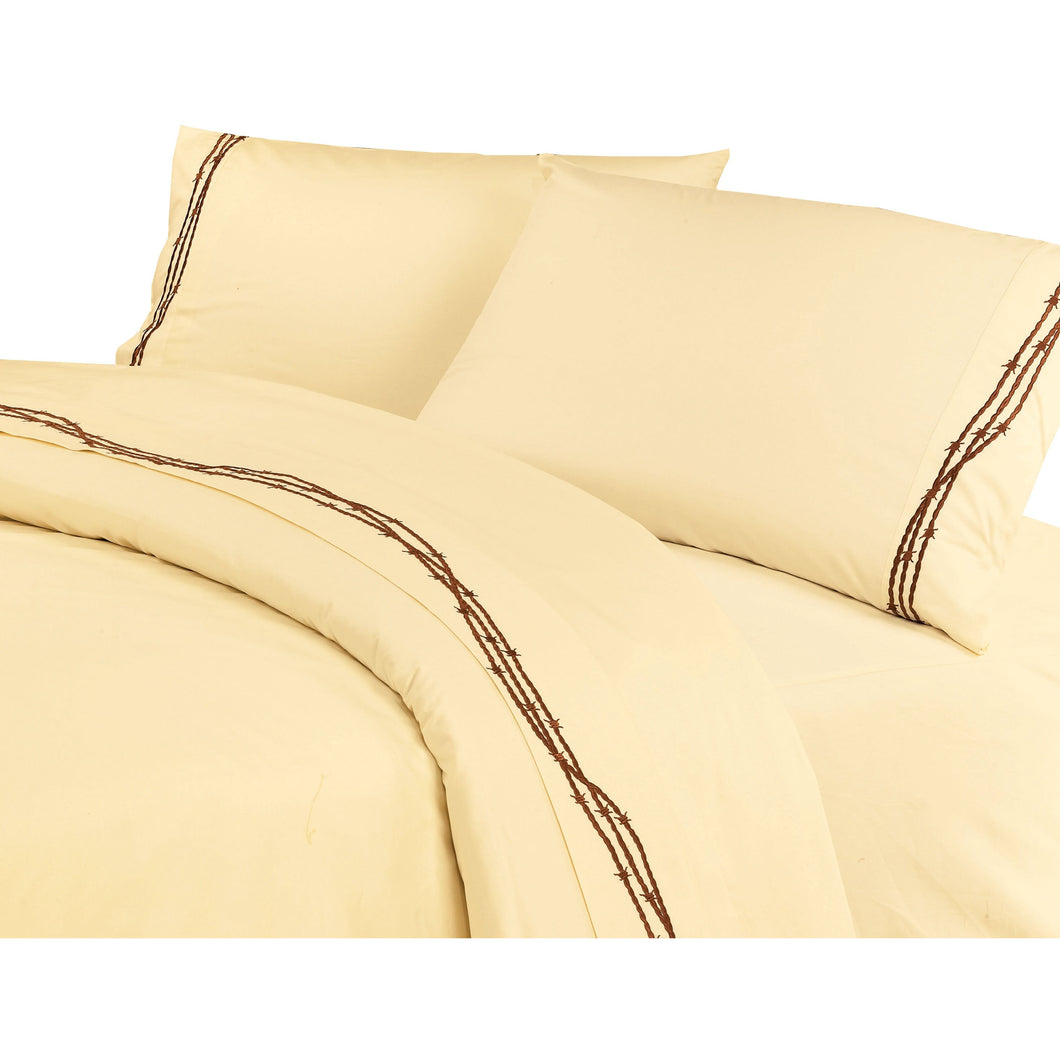 Embroidered Barbwire Sheet Set, Queen Cream