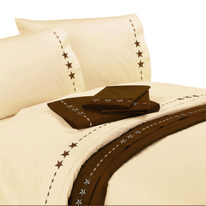 Embroidered Star Sheet Set, Twin Cream
