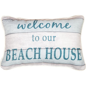 "Welcome to our Beach House Word Pillow - 12.5"" X 8"""