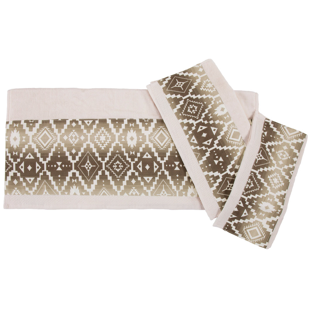 Chalet Aztec Applique 3PC Bath Towel Set, 3-PC Cream