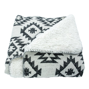 Southwest Design Throw With Shearling Back , 50x60 Black
