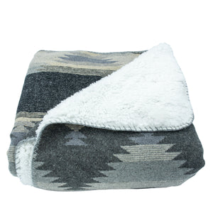 Southwest Design Throw With Shearling Back , 50x60 Gray