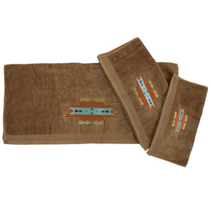 Mesa Embroidered 3PC Towel Set, 3-PC Mocha