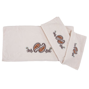 Rebecca Embroidered Western Paisley 3PC Bath Towel Set, 3-PC Cream