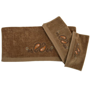 Rebecca Embroidered Western Paisley 3PC Bath Towel Set, 3-PC Mocha