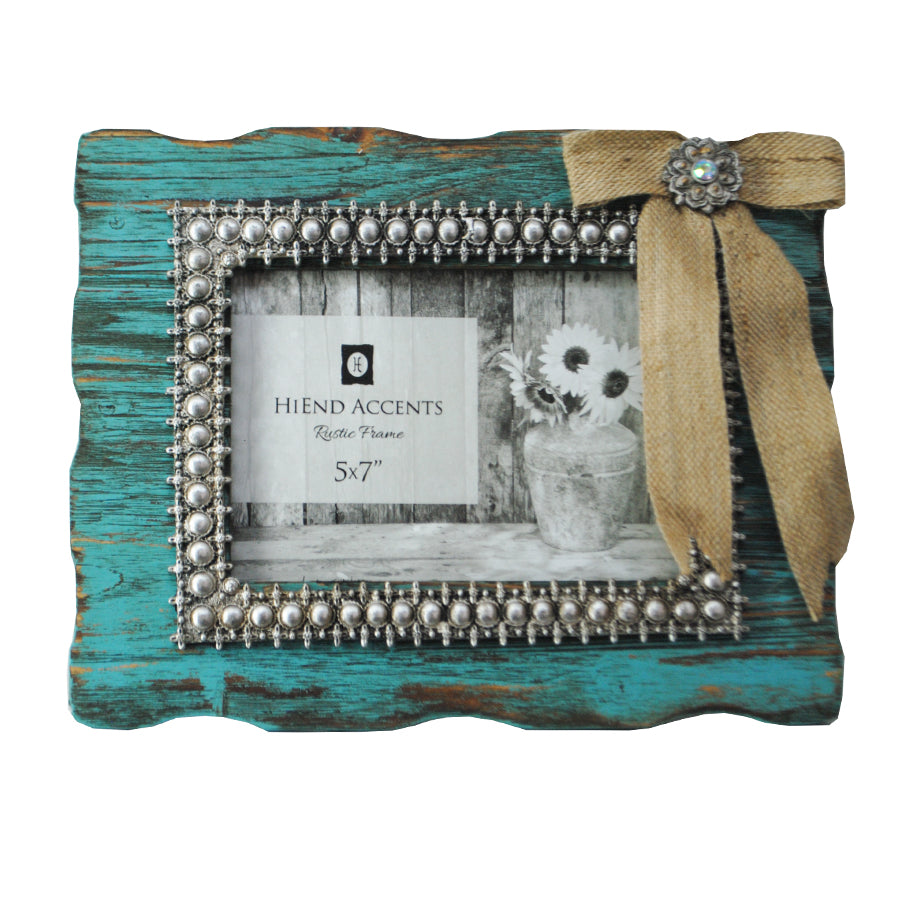 Turquoise Frame with Burlap Bow