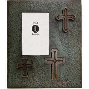 Distressed Three Crosses Frame (EA), 4X6 Turquoise
