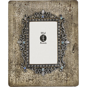 "Silver and Rhinestone Distessed Frame, 4""X6"""