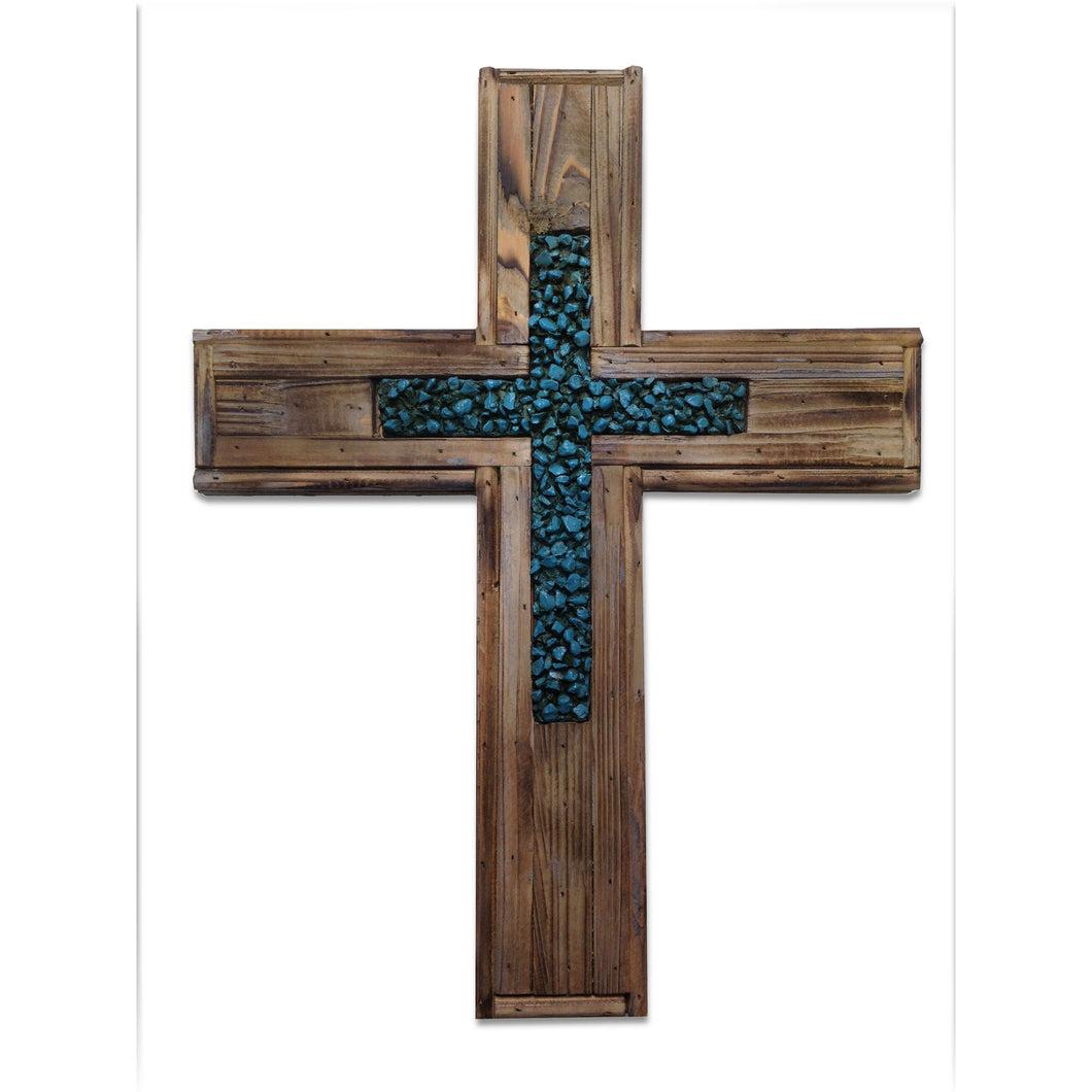 Wood Cross w/Turq Rock Cross Insert (EA)