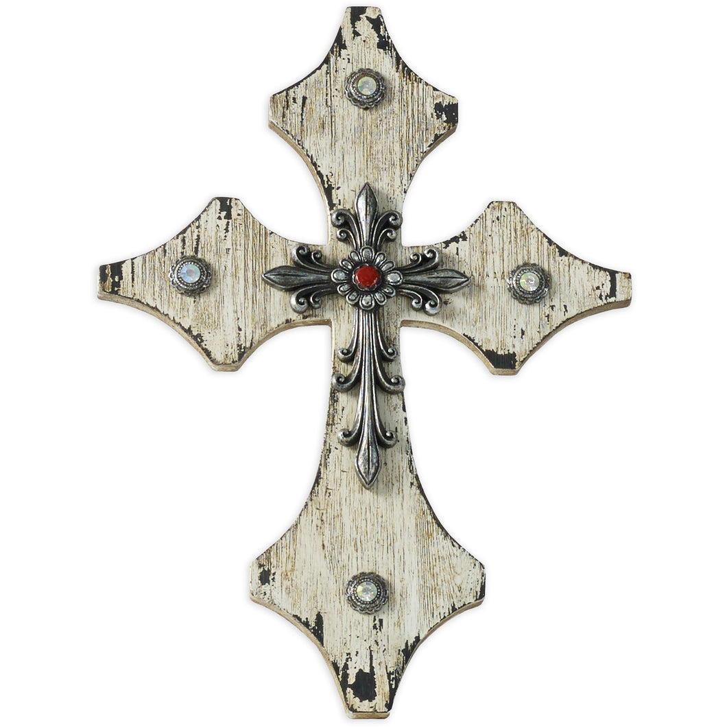 Cream Wood Cross w/Silver and Red Accents