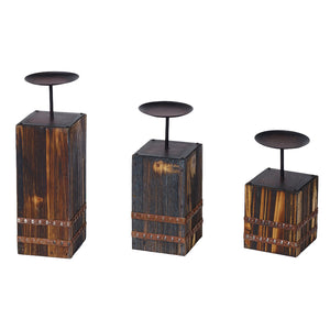 Wood and metal candleholders set of 3