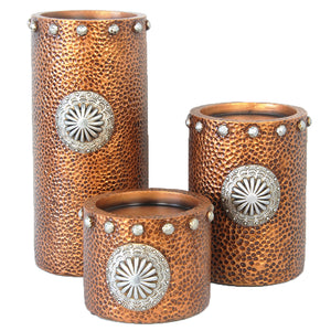 Faux hammered copper with concho candle holder 3pc set