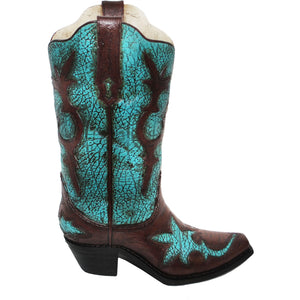 Turquoise Distressed Boot Vase