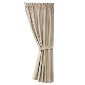 Silverado coordinating faux leather curtain with tie back, 48x84