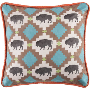 Multi Buffalo Design Pillow with Embroidery Details, 18x18
