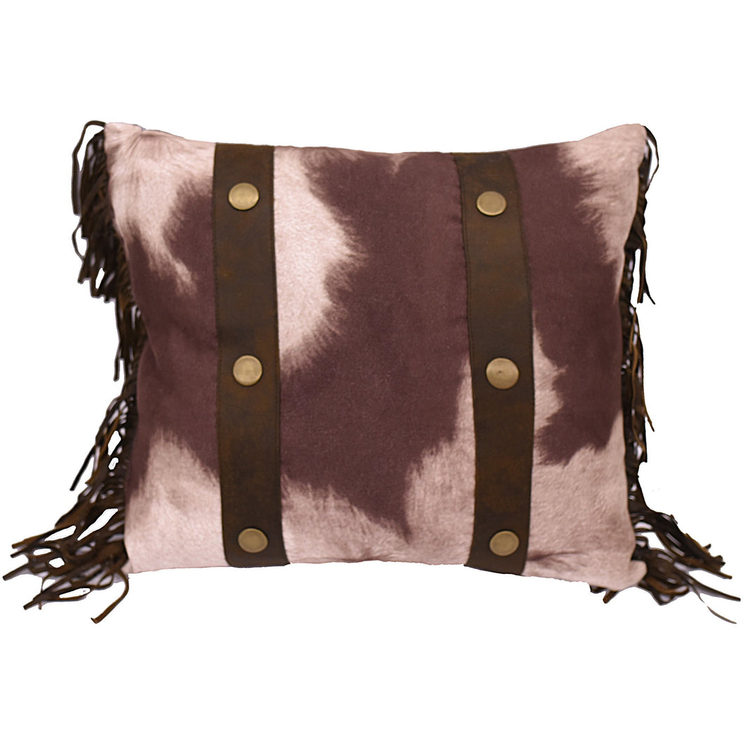 Cowhide Pillow W/Fringe , 15