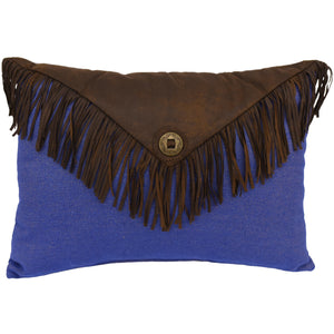 "Envelop Fringe Pillow, 16""X21"" Blue"