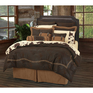 7-PC Embroidered Barbwire Comforter Set, Super King Chocolate