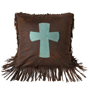 "Cheyenne Cross Pillow , 18""X18"" Turquoise"
