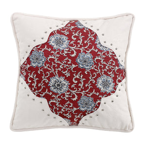 "Floral pillow with scalloped corners, 18""X18"""